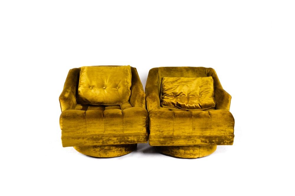 Velvet Swivel Club Chairs