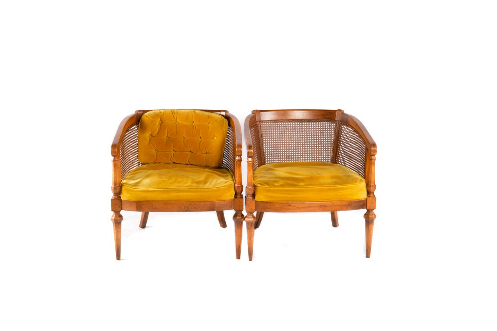Pair of Upholstered Barrel Chairs With Caning