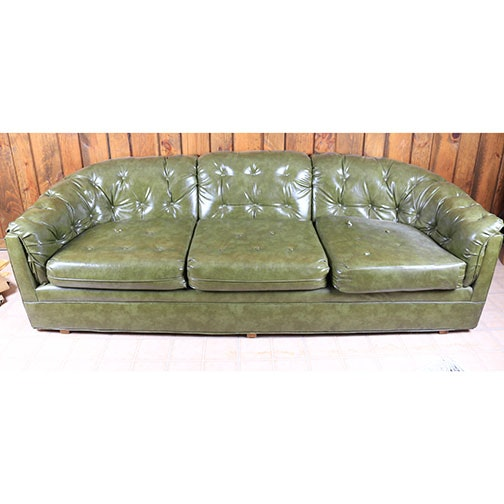 Vintage Faux Leather Tufted Sofa