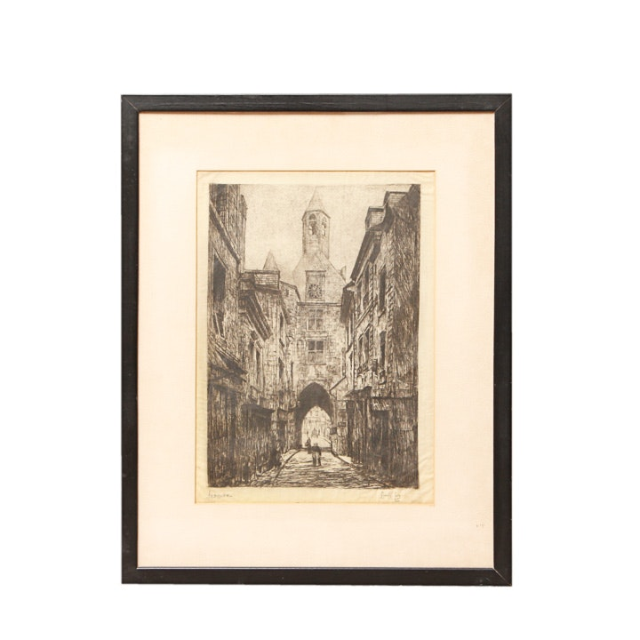 "Lionel K. Levy Signed Etching ""Amboise"""