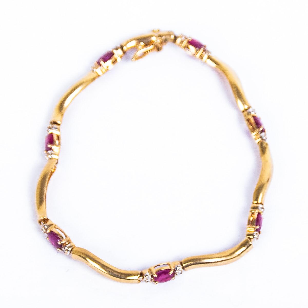 14K Yellow Gold, Ruby and Diamond Link Bracelet