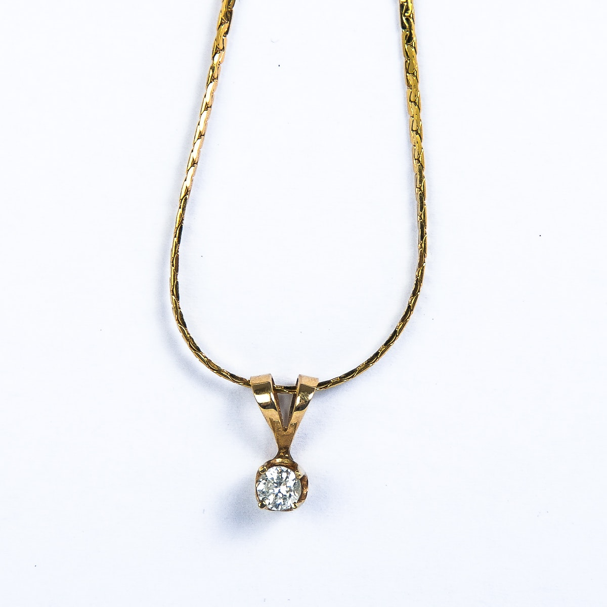 Yellow Gold and Diamond Solitaire Pendant Necklace