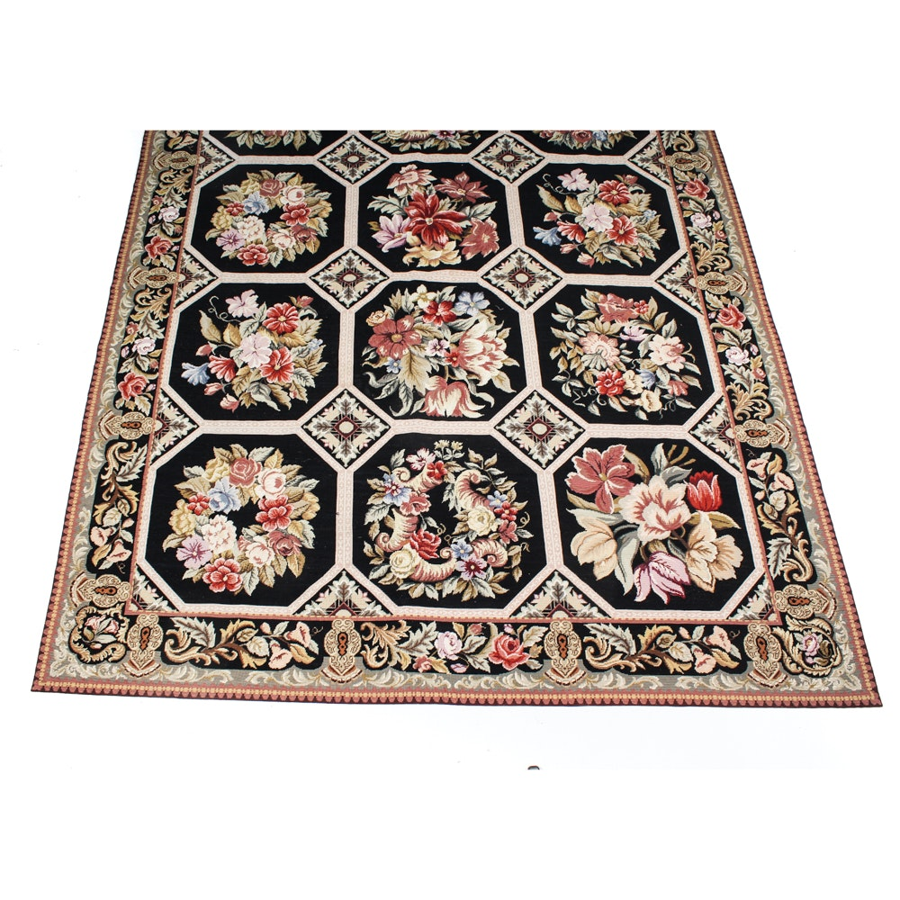 Handcrafted French Style Needlepoint Rug