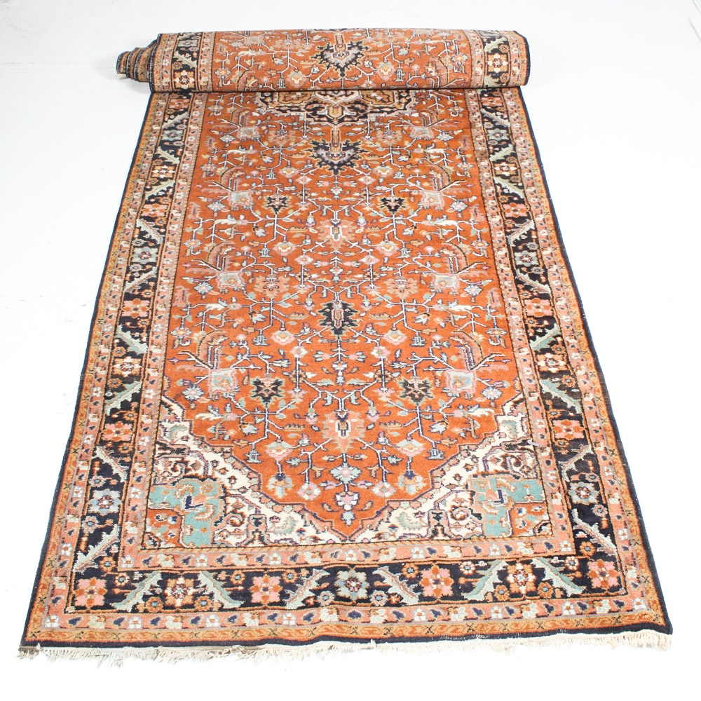Hand-Knotted Antique Indo-Persian Heriz Serapi Palace Sized Runner
