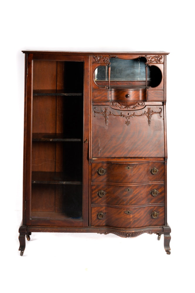 Antique Mahogany Side by Side Secretary Desk and Bookcase
