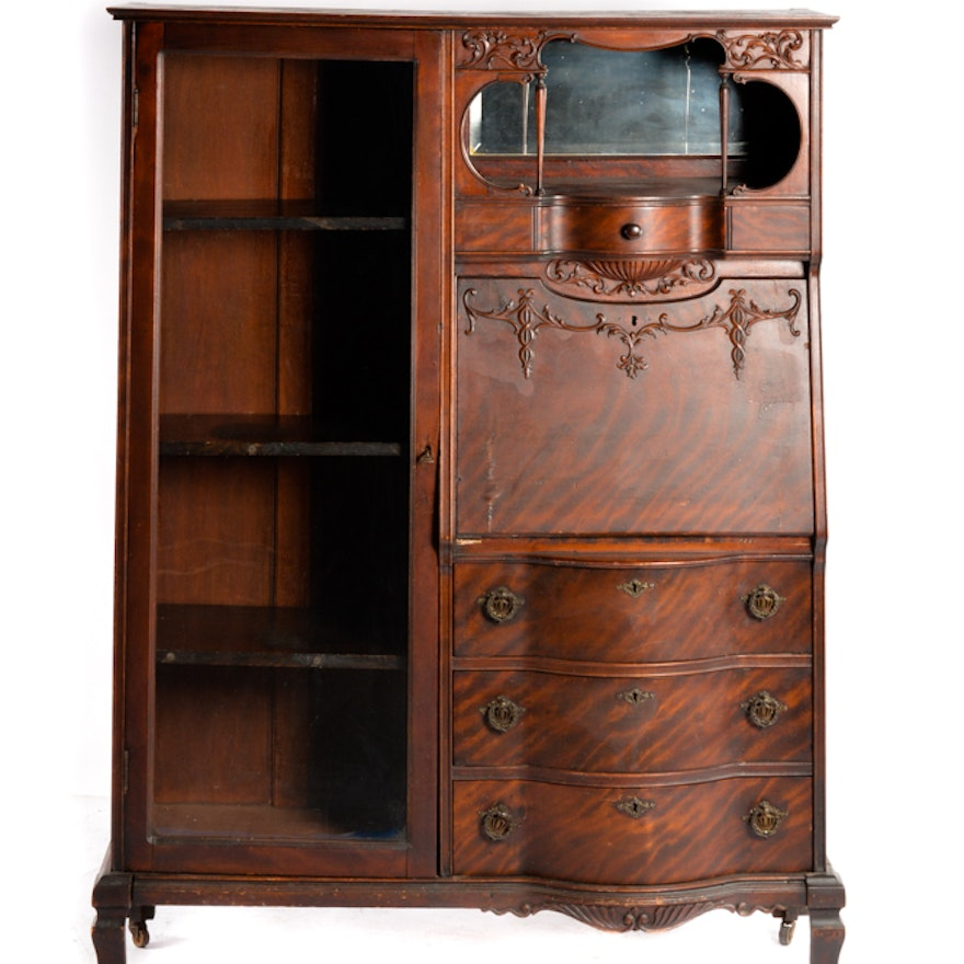 Antique mahogany side by side secretary desk and bookcase Desk with shelves on side