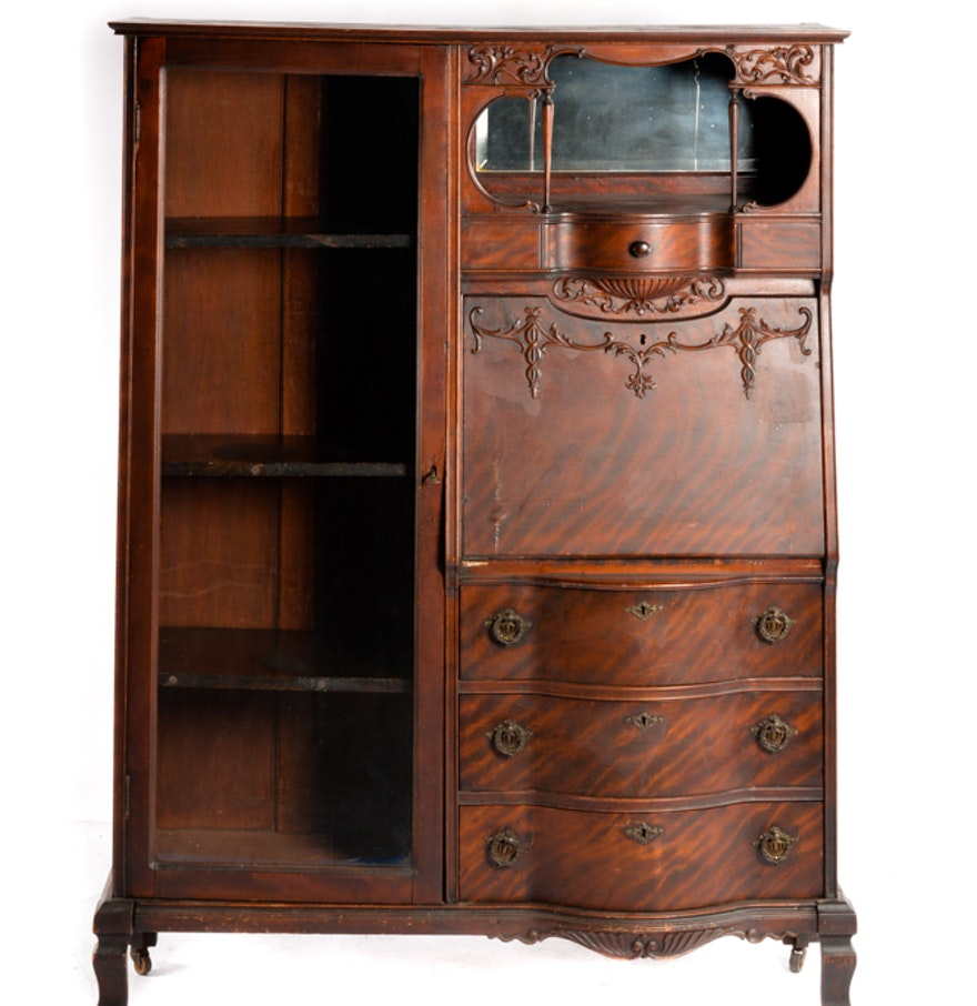 Antique Mahogany Side by Side Secretary Desk and Bookcase ... - Antique Mahogany Side By Side Secretary Desk And Bookcase : EBTH