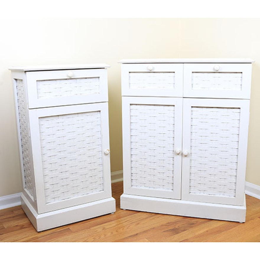 White Basket Weave Accented Cabinets