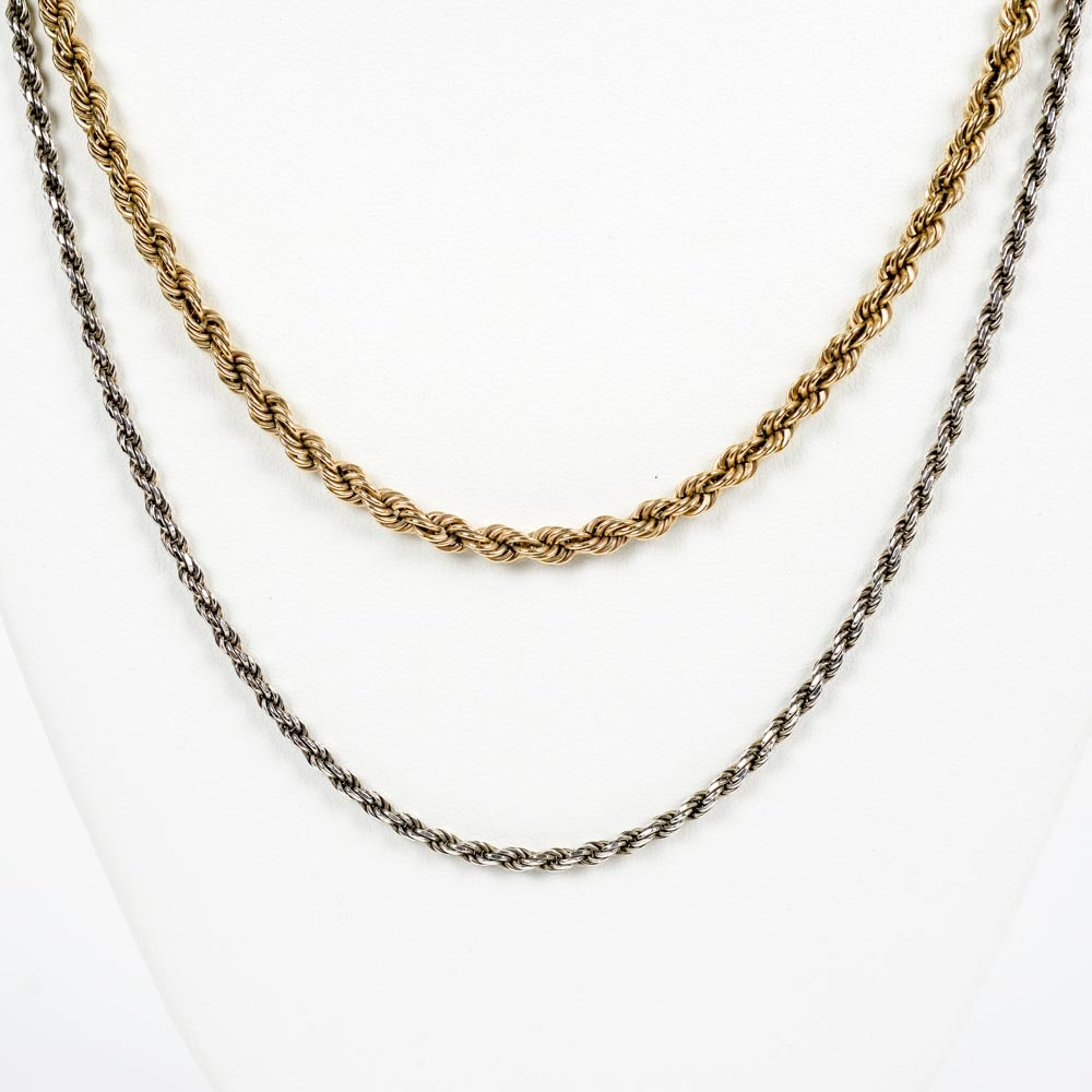 14K Gold and Sterling Rope Chains