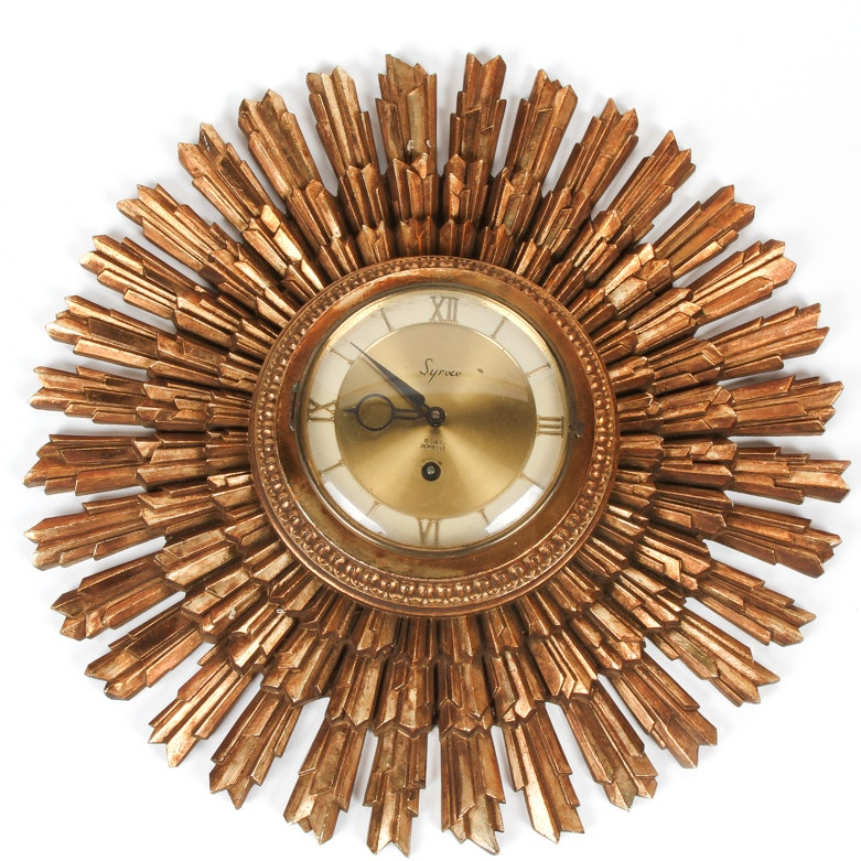 Syroco Wooden Sunburst Wall Clock