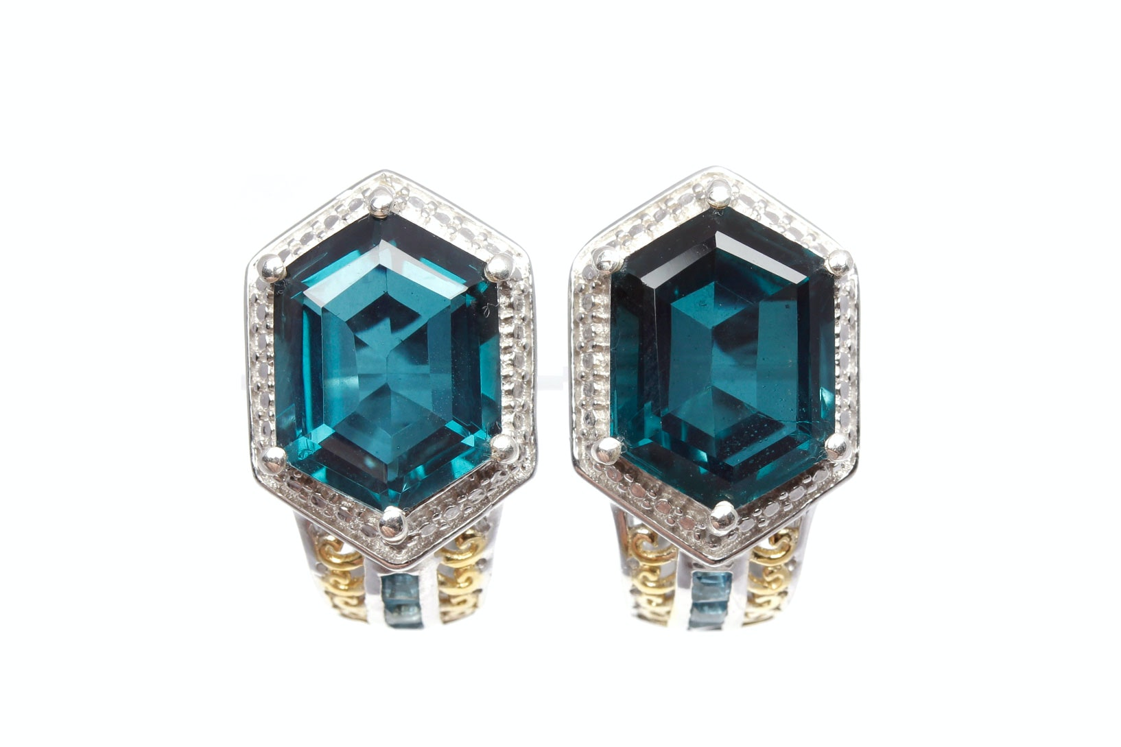 Sterling Silver Synthetic Quartz and Blue Topaz Earrings