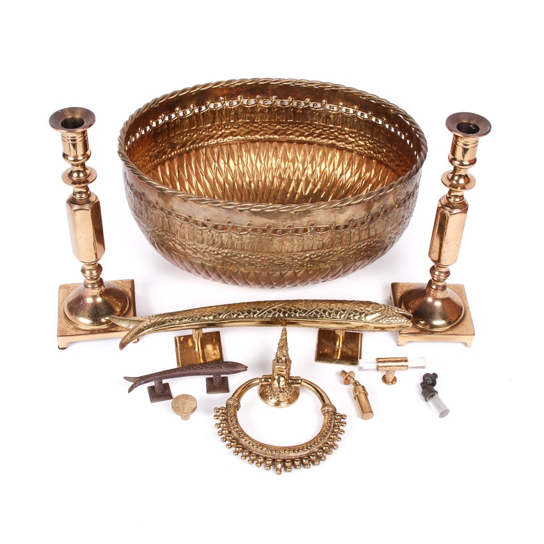 Collection of Brass Hardware and Home Decor