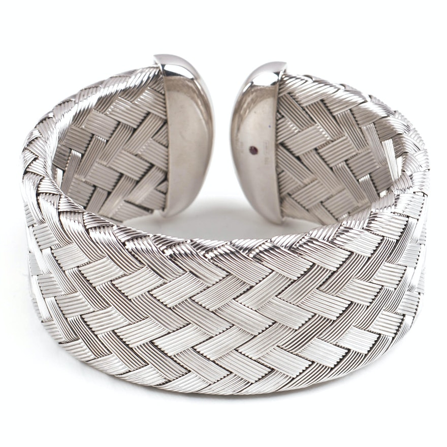 Roberto Coin Sterling Silver Woven Cuff Bracelet