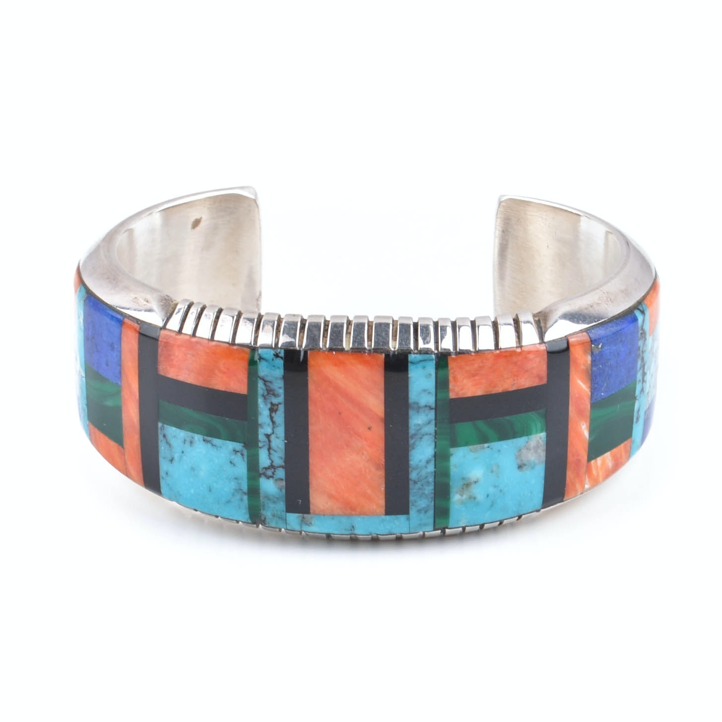 Frank Yellowhorse Navajo Sterling Silver With Inlay Cuff Bracelet