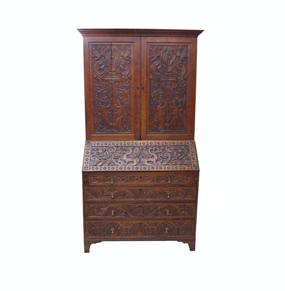 Antique Jacobean Style Oak Secretary Bookcase
