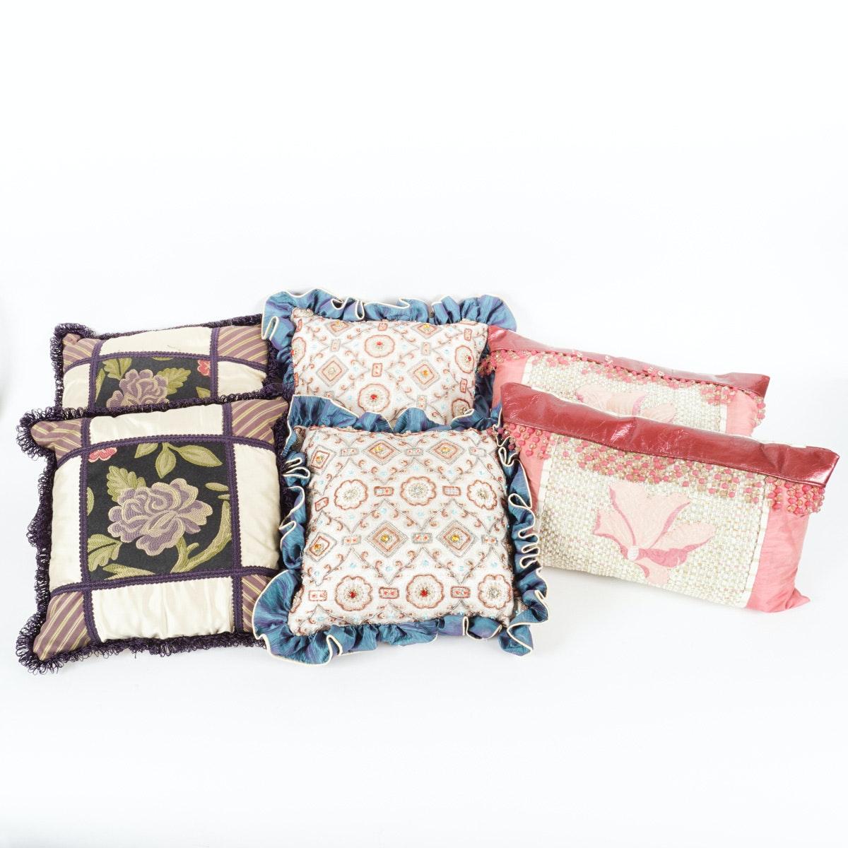Set of  Six Custom Made Throw Pillows