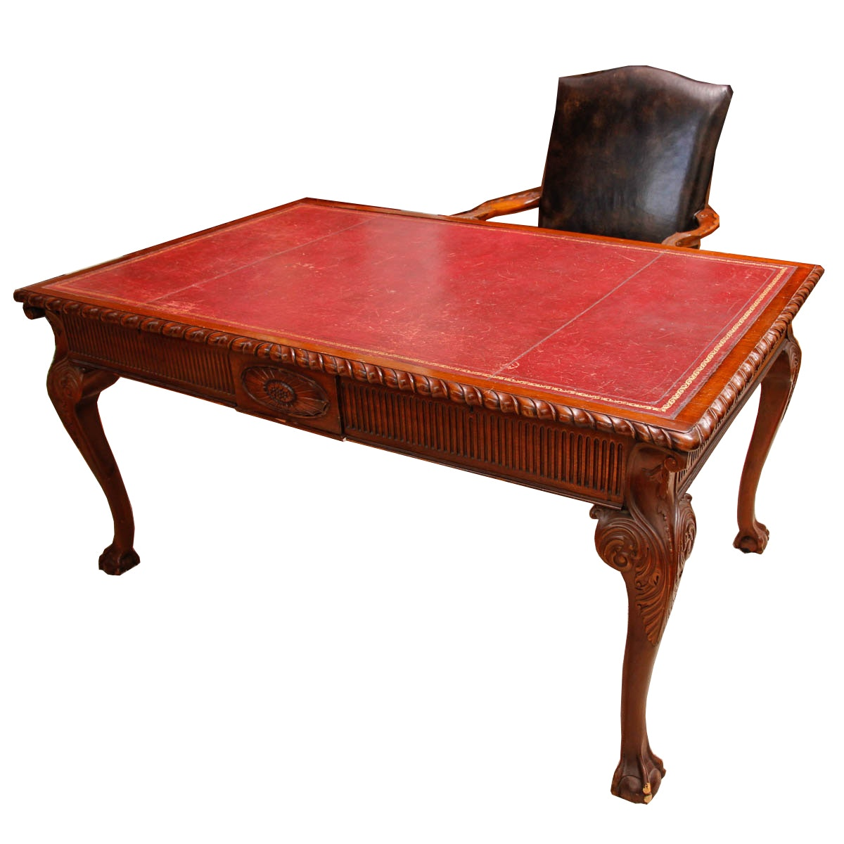 Leather Top Desk and Upholstered Chair