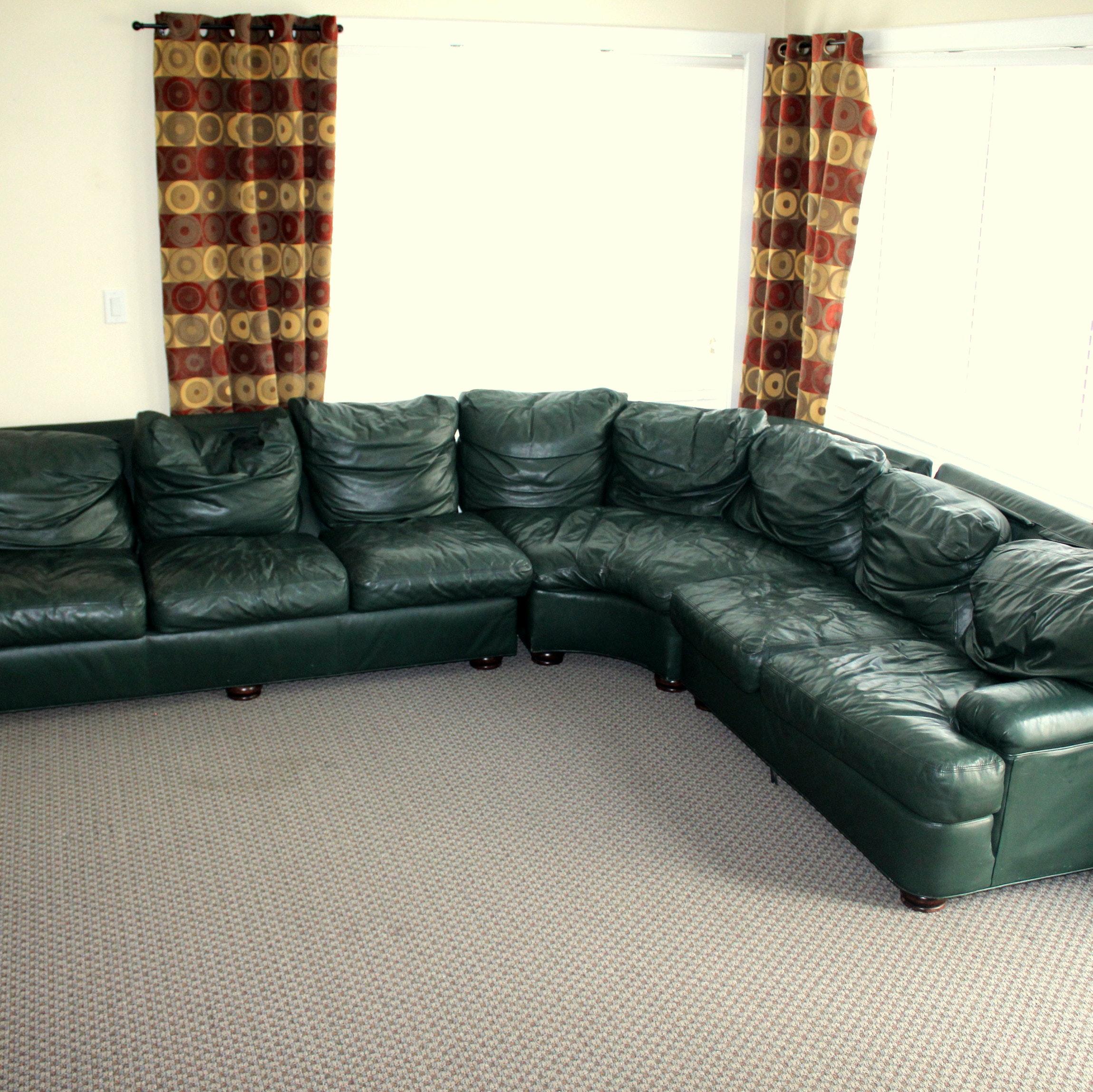 Green Leathercraft Sectional Sofa