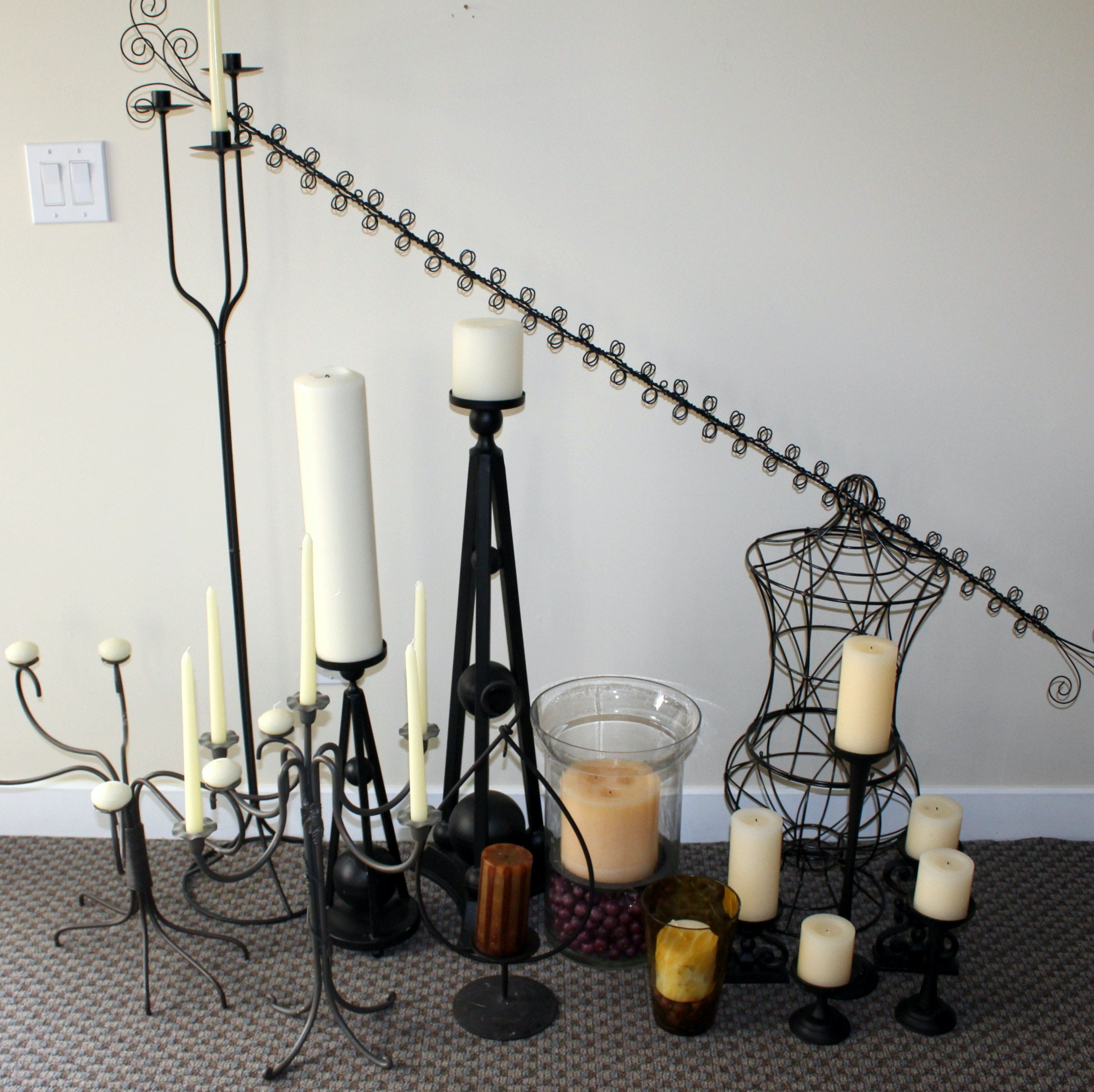 Assorted Candle Holders and Wire Decor
