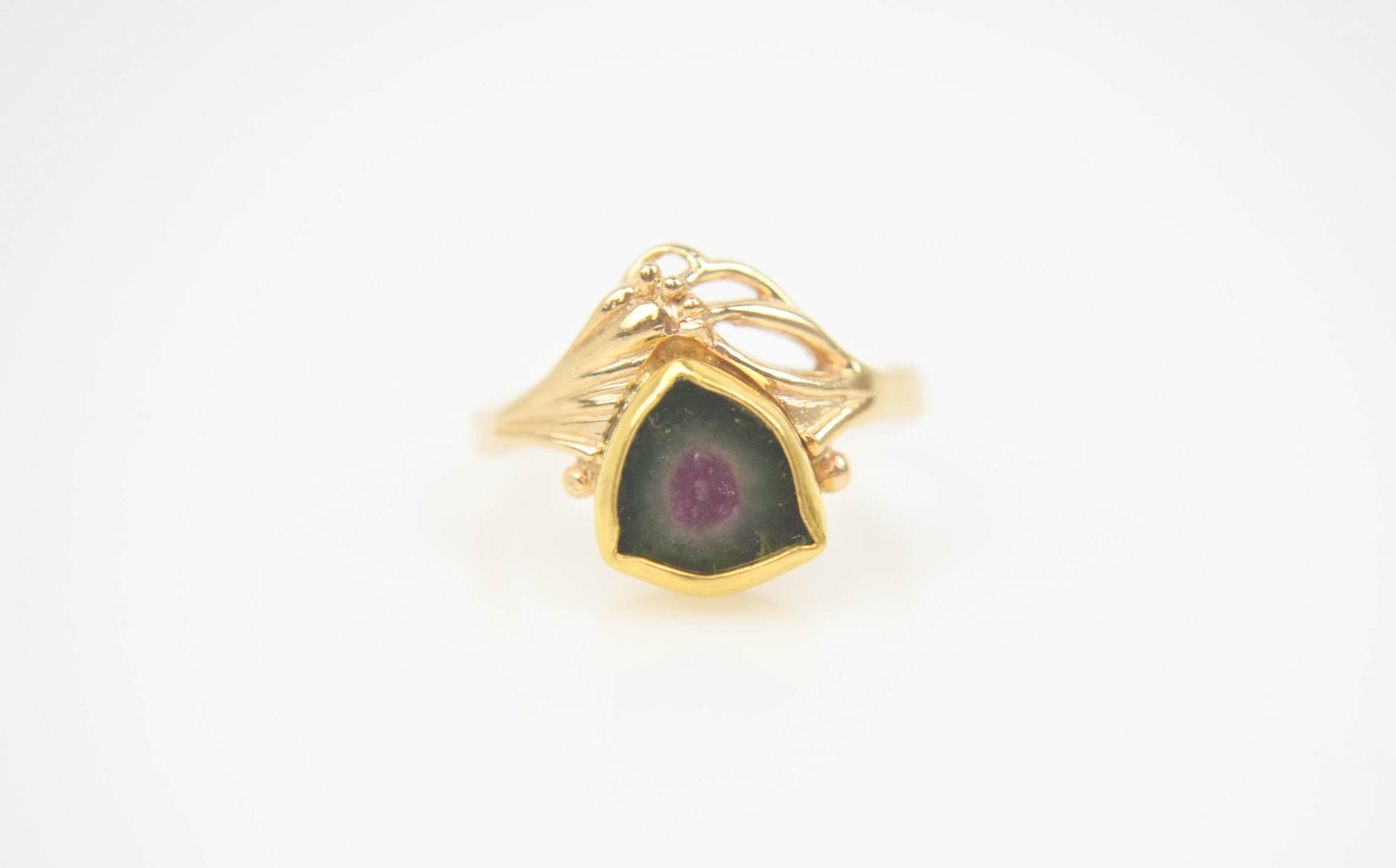 Vintage 14K and Watermelon Tourmaline Ring