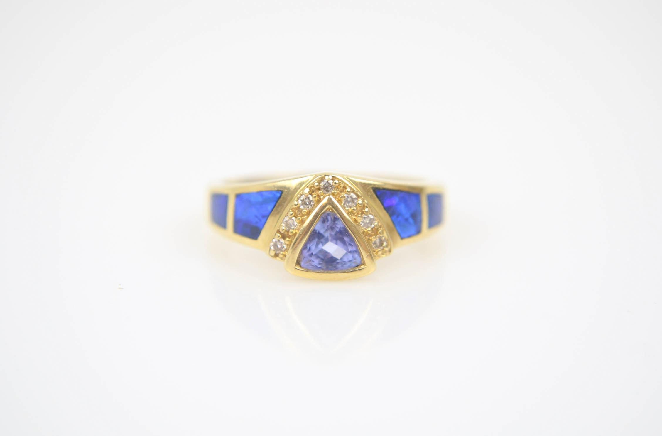 14K Yellow Gold Tanzanite, Opal, and Diamond Ring