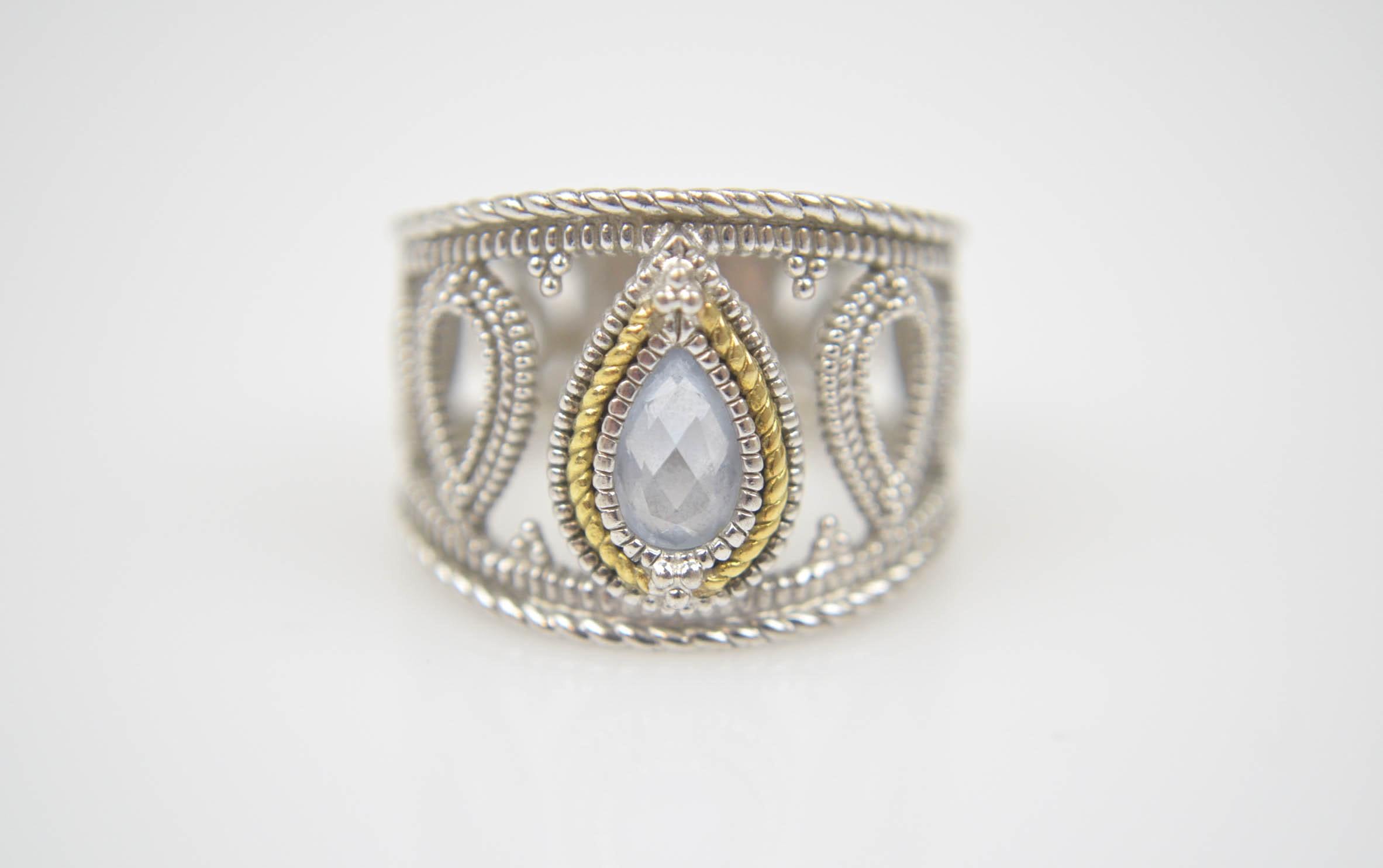 Judith Ripka 18K Yellow Gold and Sterling Silver Quartz Ring
