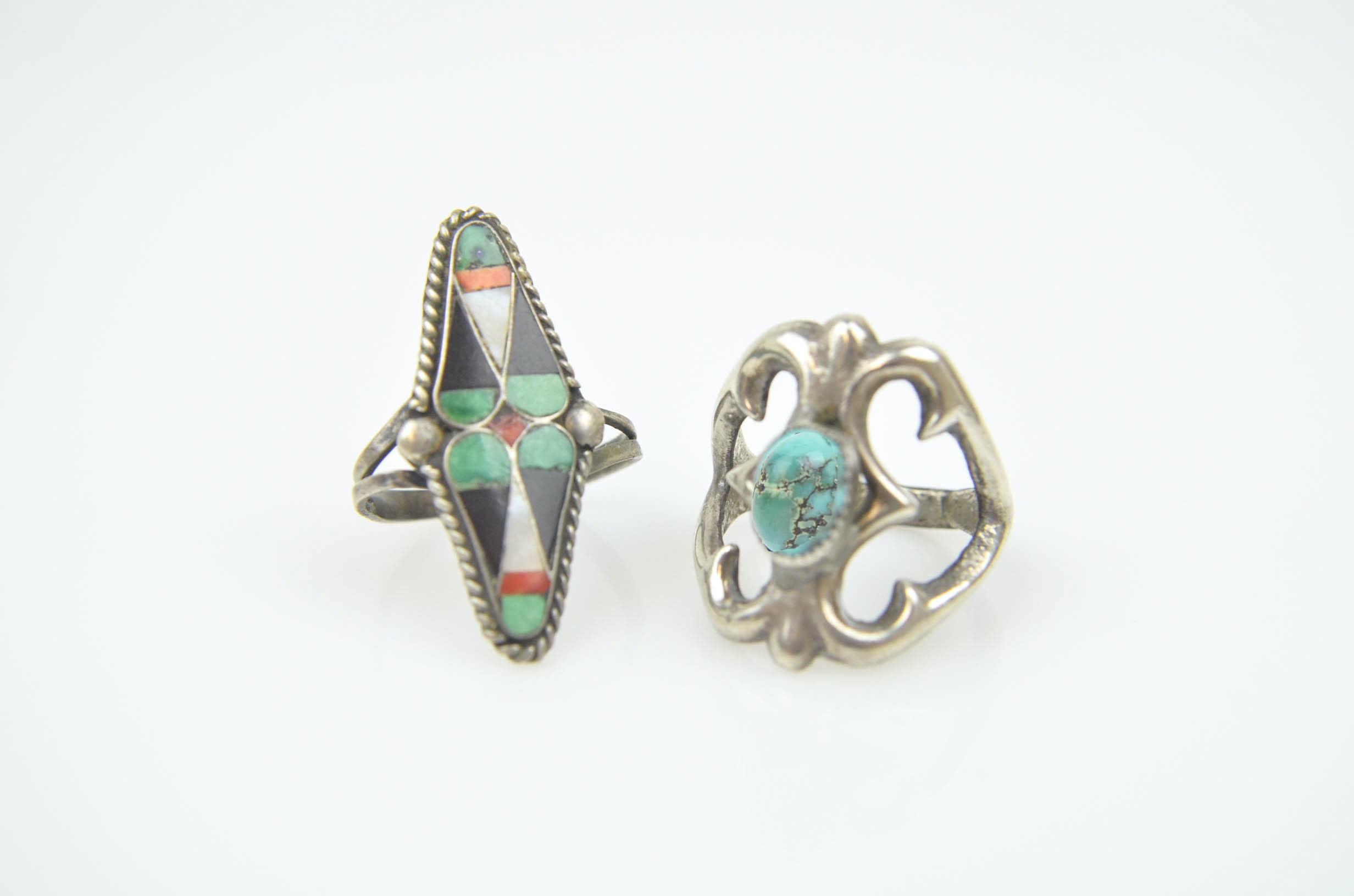 Sterling Silver Turquoise, Coral, Mother of Pearl, and Horn Rings