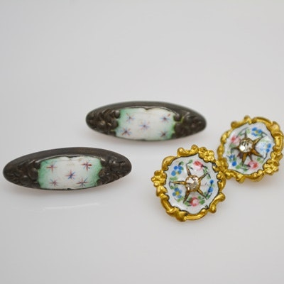 Two Pair Vintage Metal and Enamel Buttons