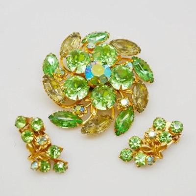 Beau Jewels Rhinestone Costume Brooch and Clip-On Earrings Set