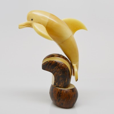 Tagua Nut Carved Dolphin Sculpture