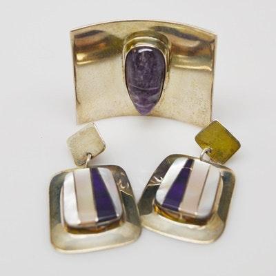 Sterling Silver Faux Amethyst Brooch and Faux Stone Pierced Earrings