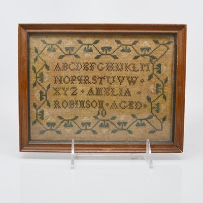 Antique Needlepoint Sampler From Clossons