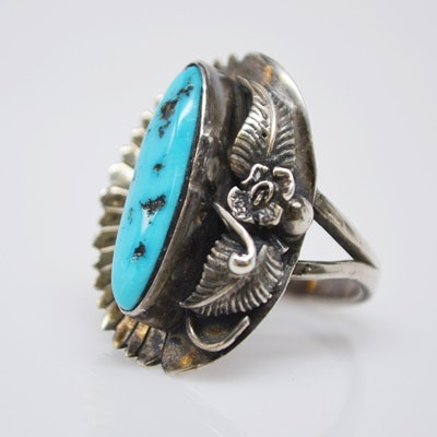 Nelvin Burbank Navajo Sterling Silver Turquoise Ring