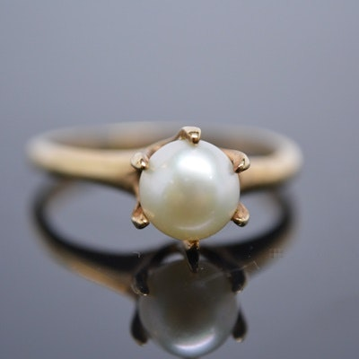 Vintage 10K Yellow Gold Cultured Pearl Ring