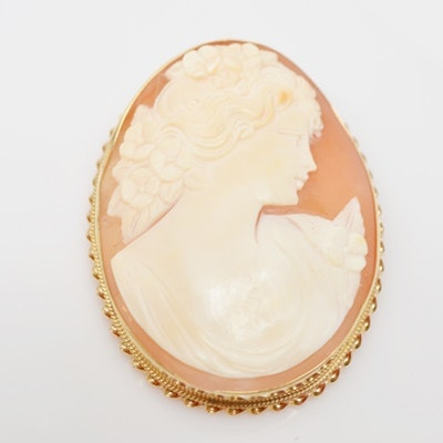 Antique 14K Yellow Gold Shell Cameo Brooch/Pendant