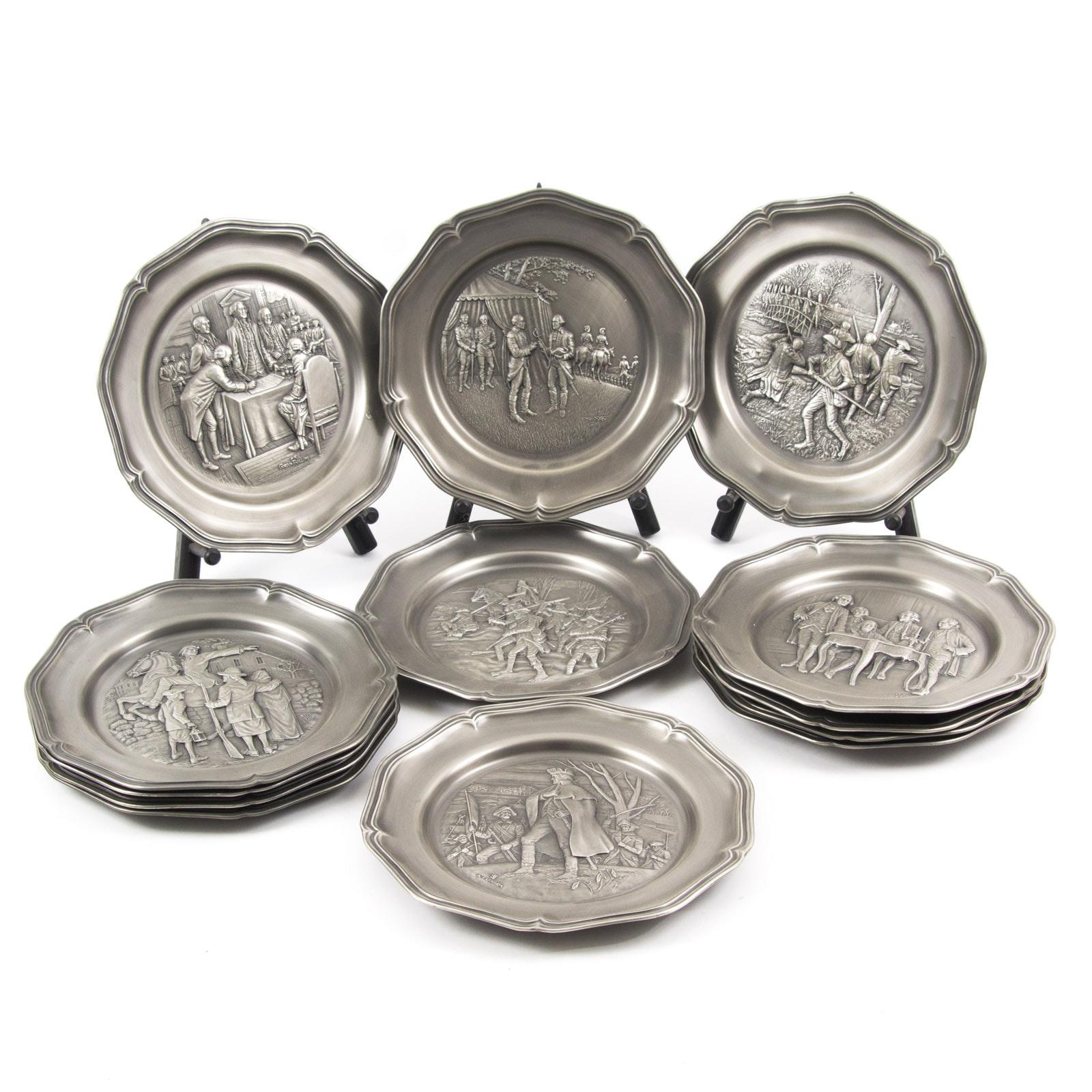 Franklin Mint American Revolution Bicentennial Pewter Plate Set