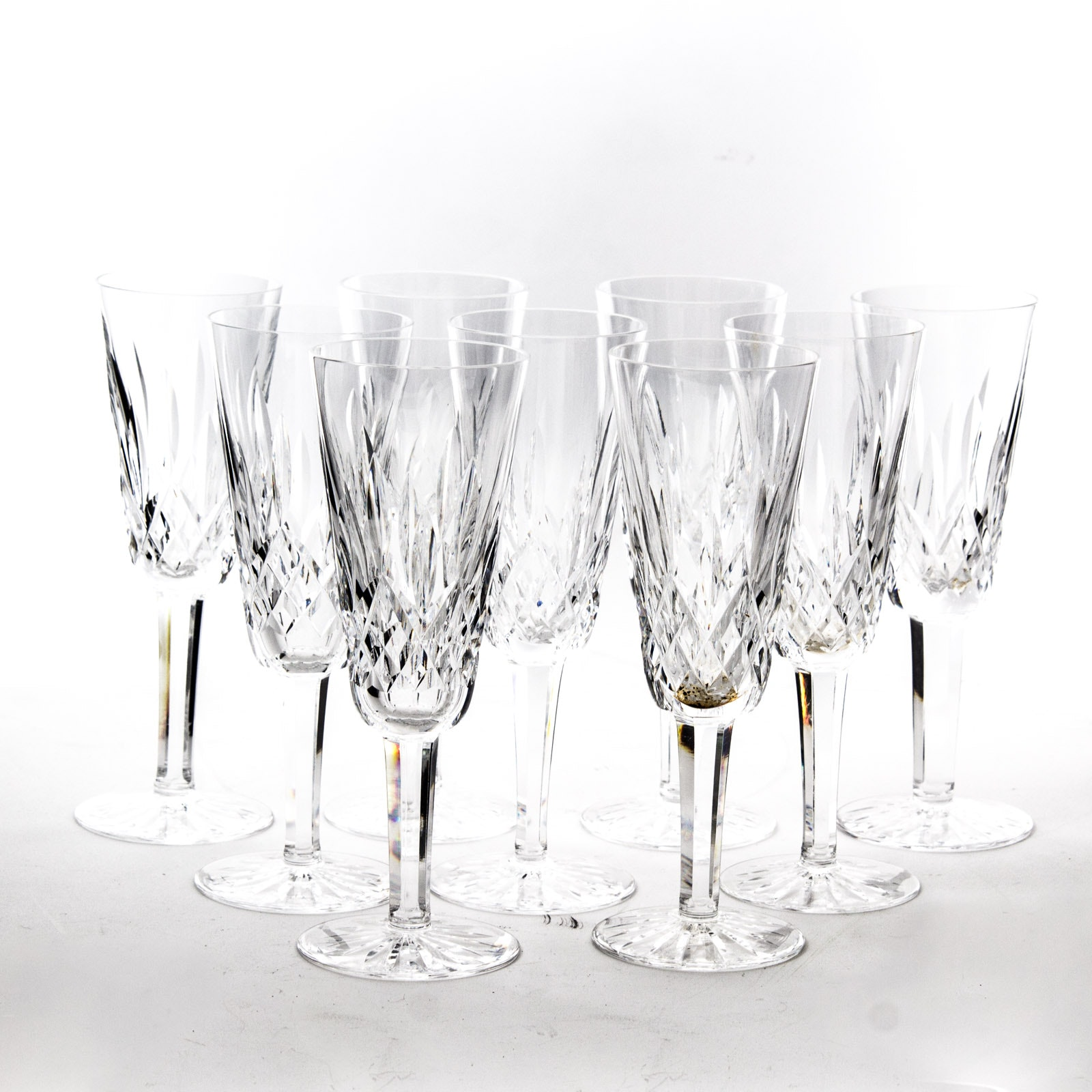 "Waterford ""Lismore"" Crystal Fluted Champagne Glasses"