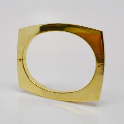 14K Yellow Gold Square Bangle Bracelet