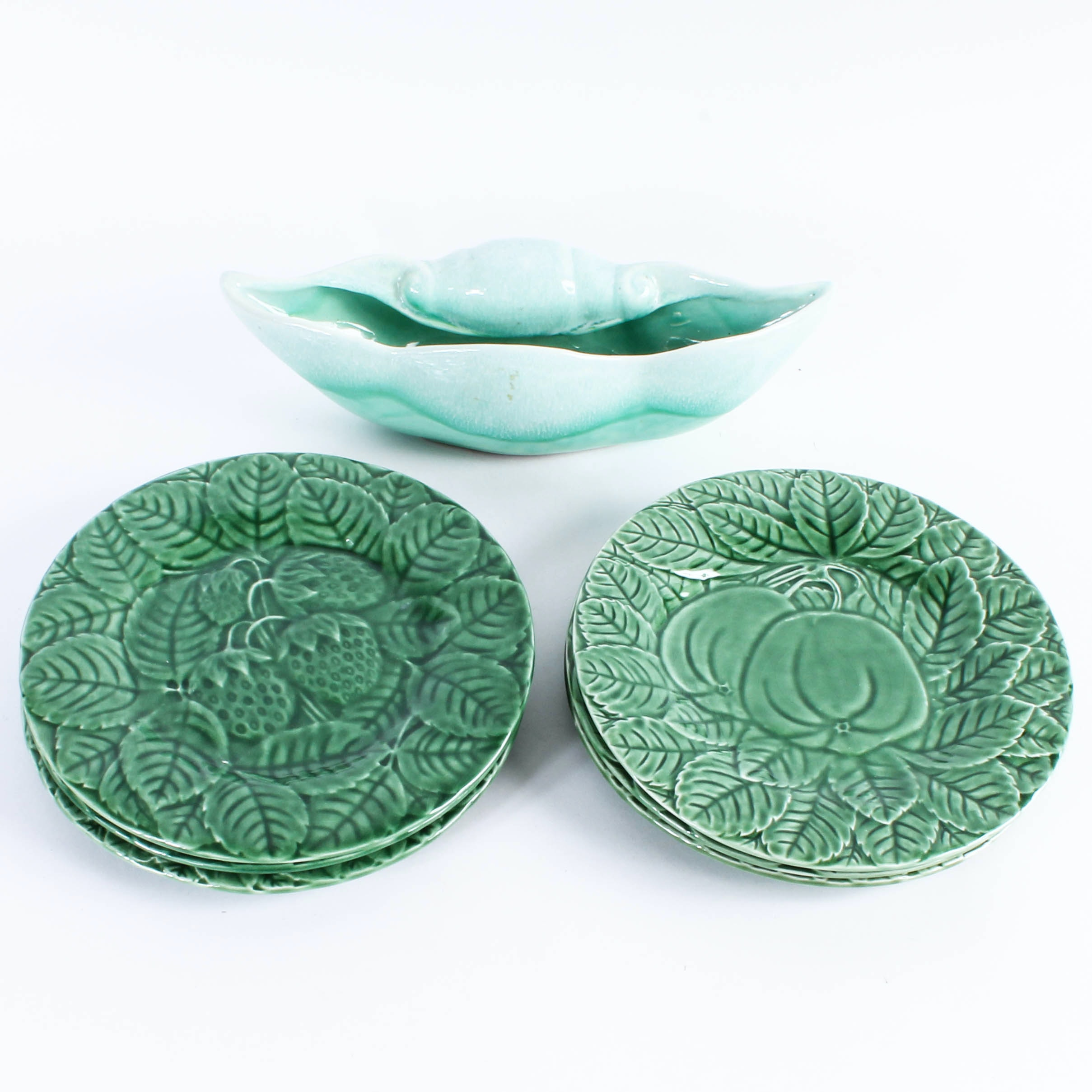Green Pottery Including Set of Plates by Bordallo Pinheiro