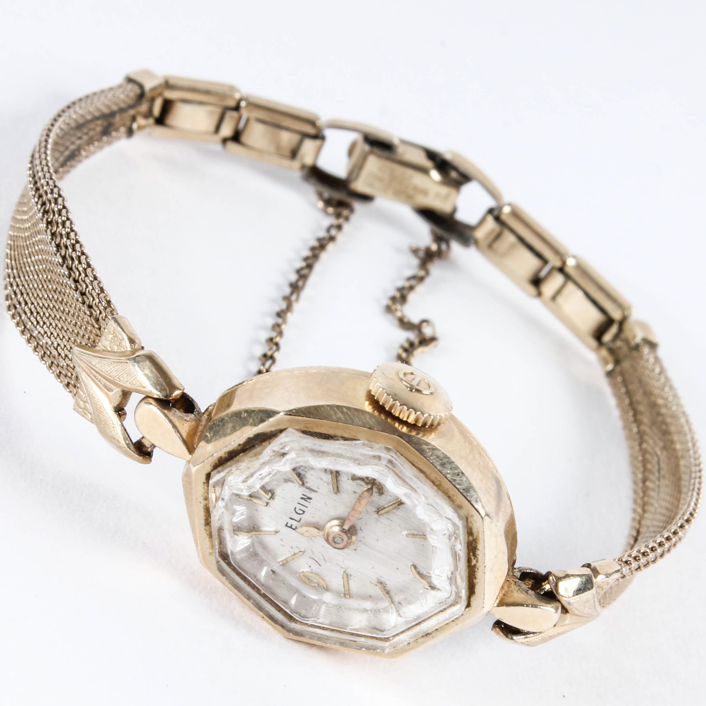 Vintage 14K Yellow Gold Elgin Wristwatch