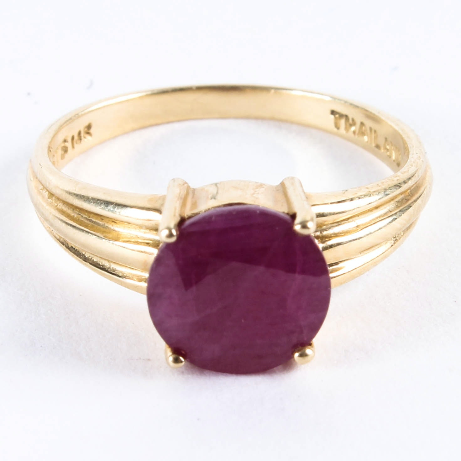 Gold Plated Stainless Cocktail Ring with Ruby