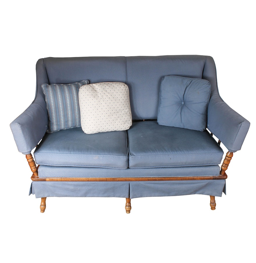 vintage blue wood frame loveseat - Wood Frame Loveseat