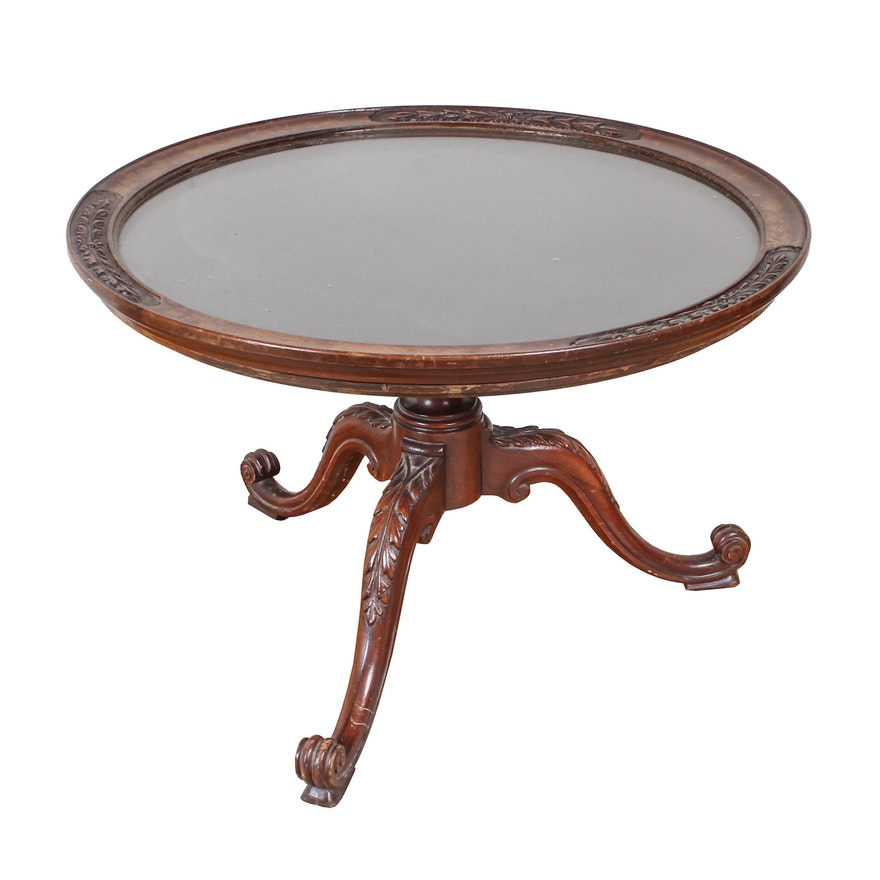 Carved Wood Coffee Table With Removable Glass Top : EBTH