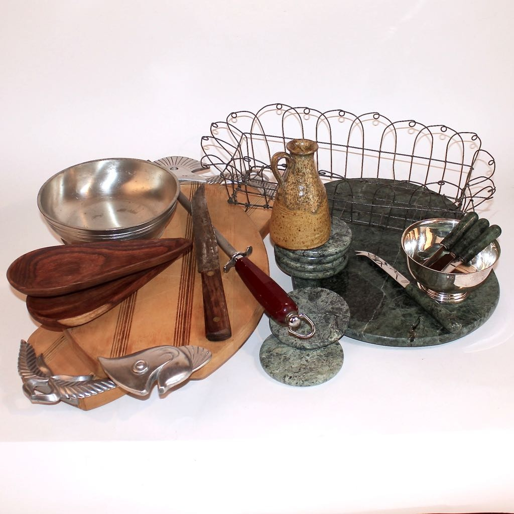 Marble, Wood, and Pewter Servingware