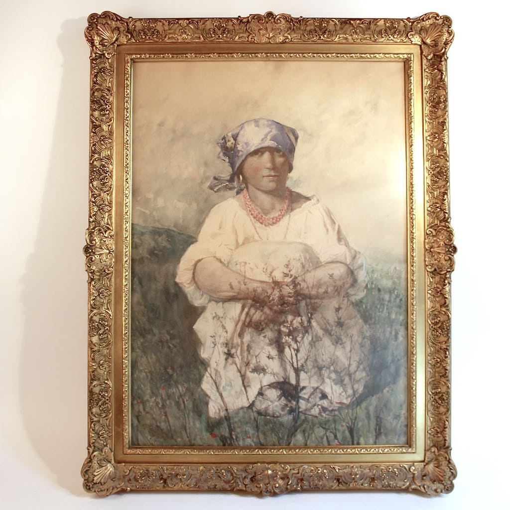 Original Vintage Watercolor of Lady in Blue Head Scarf