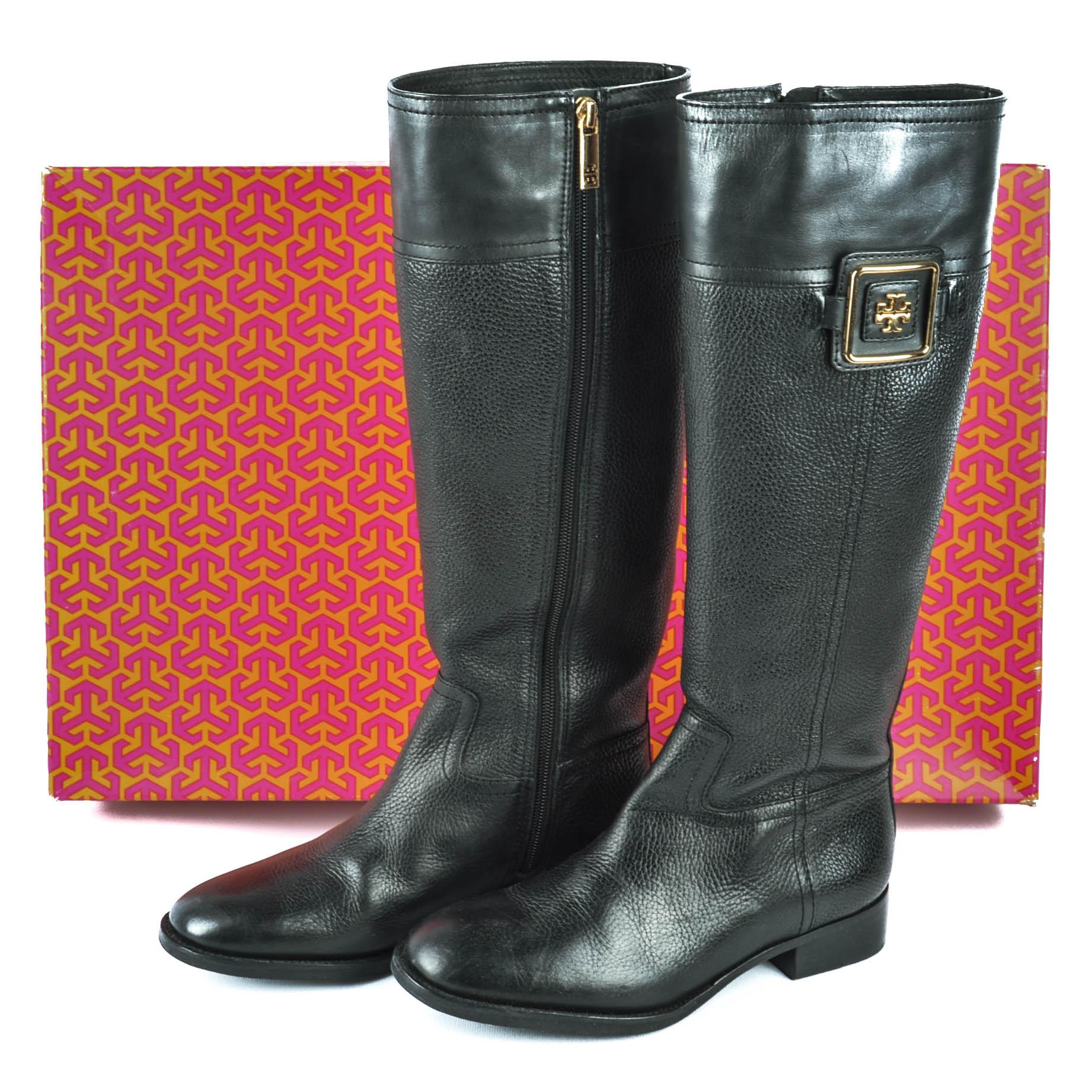 28212d8c7f3e ... sale tory burch black leather julian riding boots 82dcc 2832a