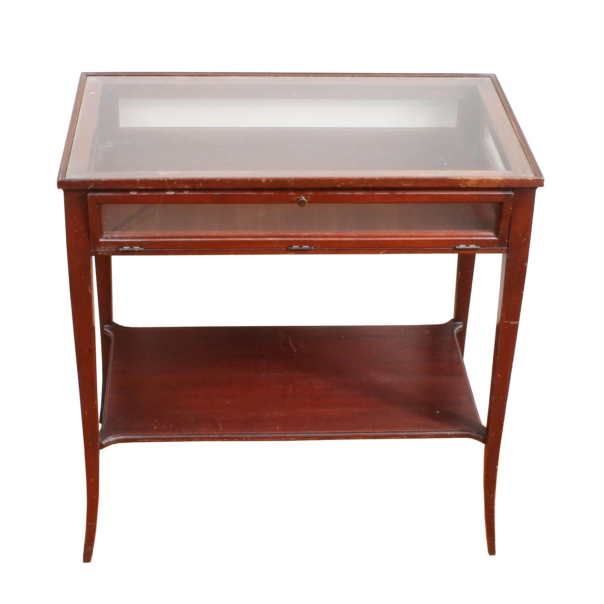 Vintage Glass-Top Display Table