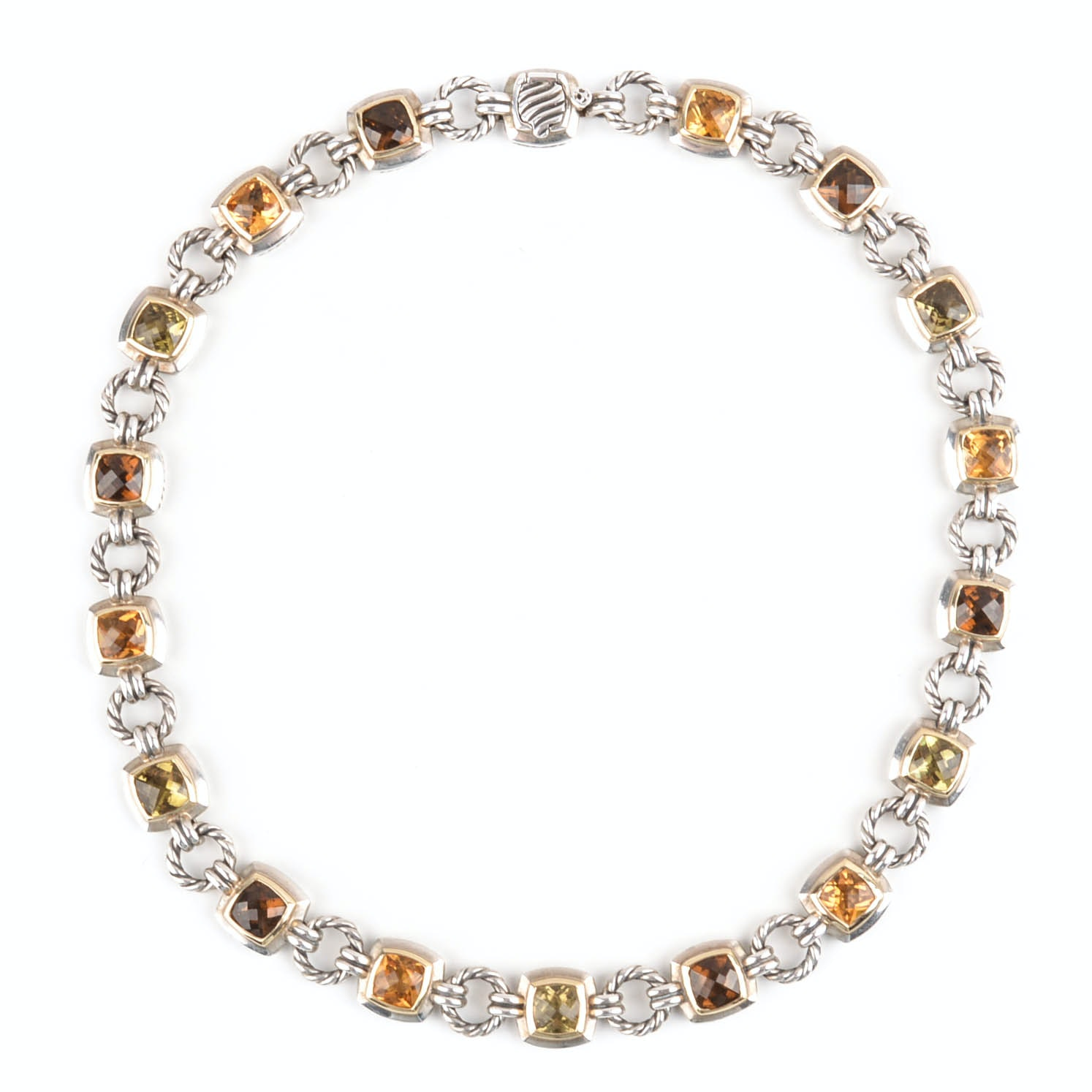 David Yurman Sterling Silver and 18K Yellow Gold Gemstone Necklace