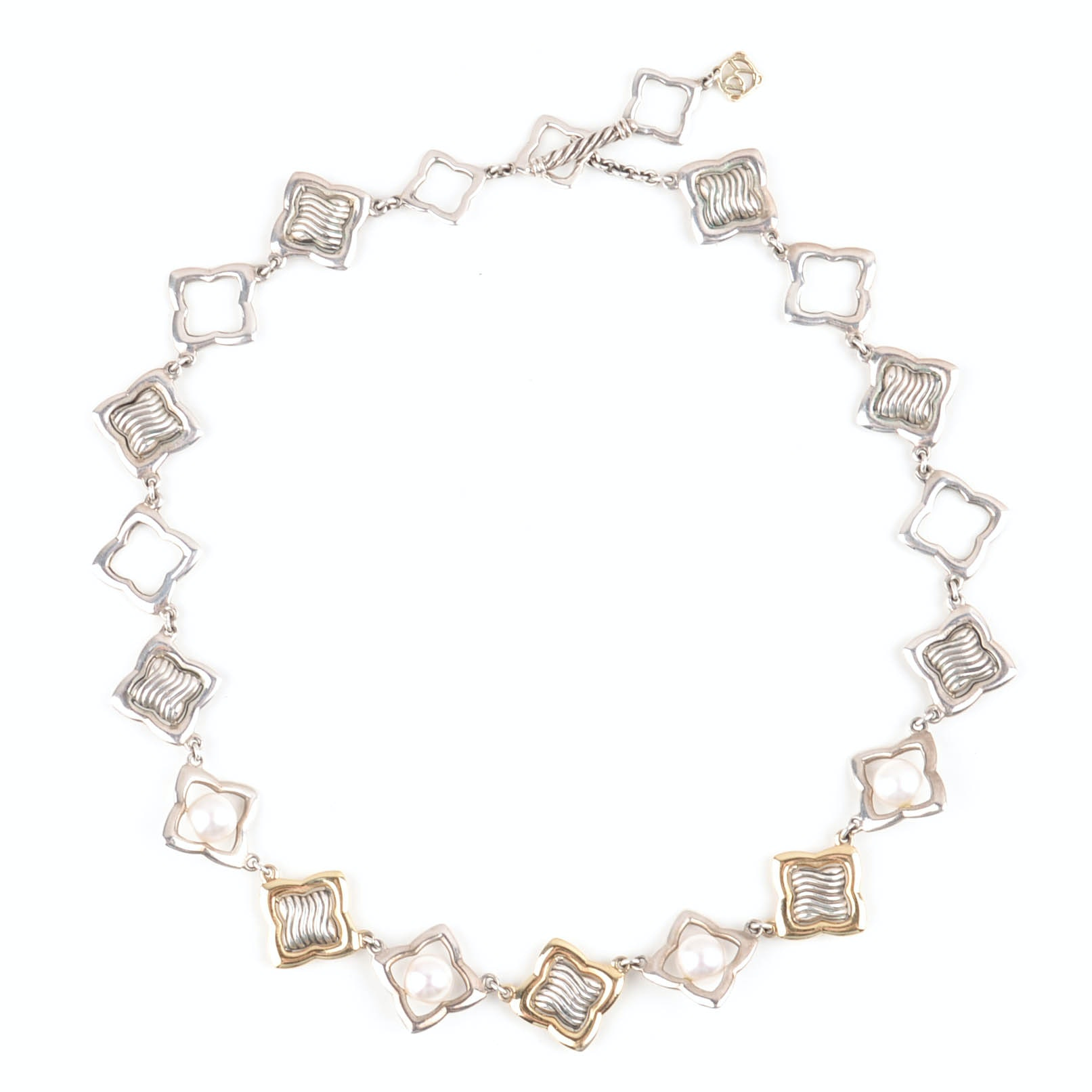 David Yurman Sterling Silver 18K Yellow Gold and Freshwater Pearls Necklace