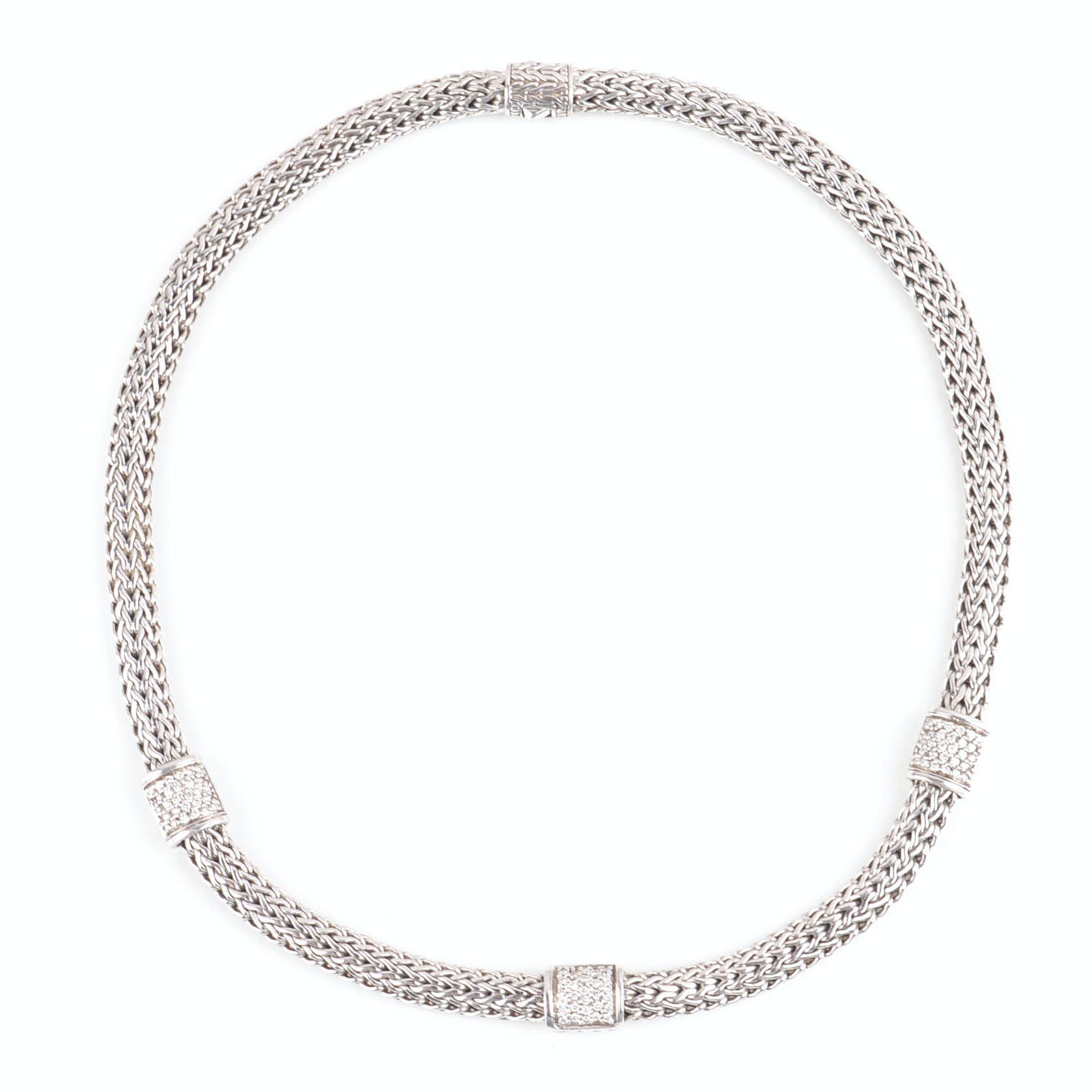 John Hardy Sterling Silver and 18K Yellow Gold Diamond Necklace